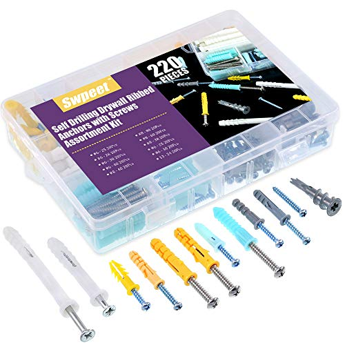 Swpeet 220Pcs Assorted Sizes Hollow Self Drilling Drywall Anchors Kit, Plastic Self Drilling Drywall Ribbed Anchors Assortment with Screws Perfect for Fixing Curtains, Calligraphy, Wall Cabinets