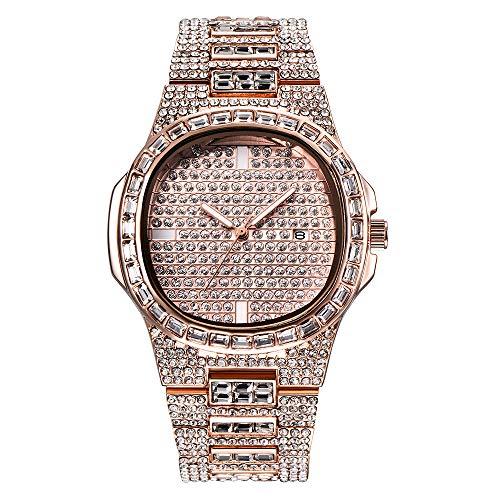 Reloj unisex de cristal Bling Iced-Out Reloj plateado / dorado Reloj de pulsera Moda Diamante Relojes de cuarzo