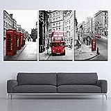Pinturas en lienzo impresas en HD, 3 paneles, cartel de paisaje de la calle de Londres, decoración del hogar, cuadros artísticos de pared, modulares para sala de estar
