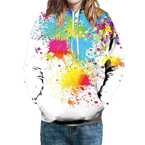 Herren Frauen Mode 3D Druck Langarm Bluse Paare Hoodies Sweatshirt Tops Gr. XXX-Large, weiß