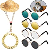 6 Pieces Pet Dog Cat Costume, Pet Sunglasses and Summer Pet Straw Hat with Faux Gold Chain Collar, Classic Funny Pet Accessories for Pet Cat Puppy Small Medium Dog Birthday Cosplay Party Weekend