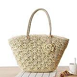 QACFD Hombro Tejido Bolsa Concha Crochet Flor Paja Bolsa Playa Bolsa