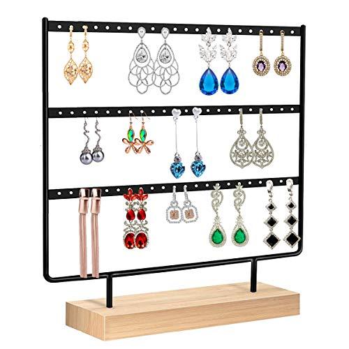 Discoball - Espositori per gioielli, supporto per orecchini, organizer da appendere, per orecchini a 3 ripiani (66 fori)