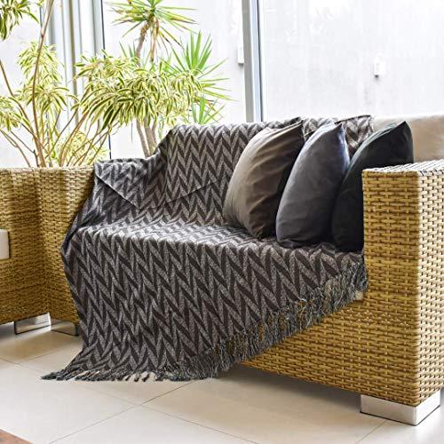 Xale Manta para Sofa Decorativo Jacquard 2,10x1,40 com Franja desfiada (Preto, Gales)