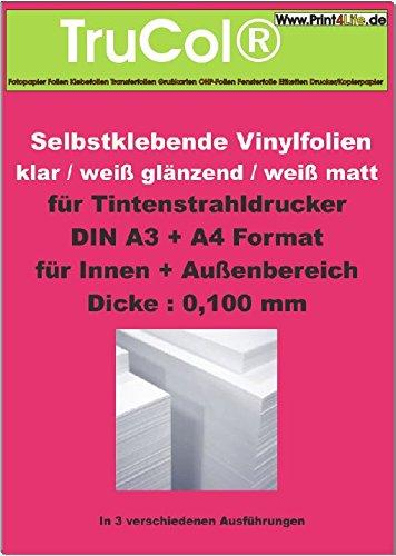 Preisvergleich Produktbild 10 Blatt DIN A4 weiße glänzende PVC-Selbstklebefolie ( 0, 100 mm )für Tintenstrahldrucker mit rückseitiger Silikonpapierabdeckung. Einsetzbar mittelfristig im Innen- und kurzfristig im Außenbereich. Vinylfolie Inkjet selbstklebend. Zur Beklebung von ebenen und glatten Oberflächen