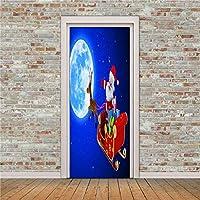 ドアステッカードアデカール3D クリスマスドアデカール粘着防水壁紙家の装飾ステッカードアの壁に