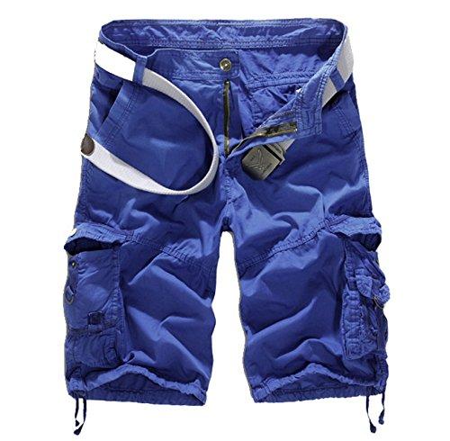 WSLCN Homme Eté Cargo Shorts de Loisir Capri Vintage Bermudas Mi-Longues Pantacourt (sans Ceinture) Bleu FR 30W (Asie 31W)