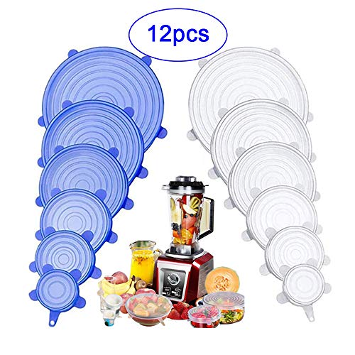 NA Tapas de Silicona Elásticas, 12 Paquetes de Varios TamañOs Tapas Silicona Ajustables Cocina para Alimentos Tapa Tazas, Boles o Tarros, Lavavajillas, Refrigerador
