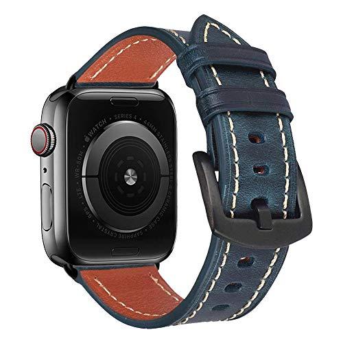 iBazal Pelle Cinturini Compatibile con iWatch Cinturino 44mm Series 6 SE 5 4 42mm Series 3 2 1 Cuoio Braccialetto Bands Straps Watchbands - Blu 42/44