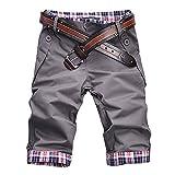 ROBO Short Homme Slim Fit Casual Bermuda Chino Pantalon Court Carreaux sans Ceinture, Gris, FR S-M/Tag 2XL