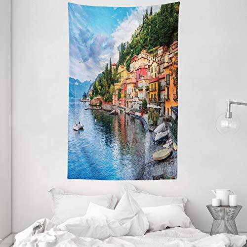 ABAKUHAUS Italien Wandteppich und Tagesdecke, Italienische Häuser Foto, aus Weiches Mikrofaser Stoff Wand Dekoration Für Schlafzimmer, 140 x 230 cm, Mehrfarbig
