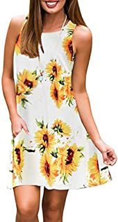 Women Plus Size V Neck Sleeveless Floral Print Pocket T...