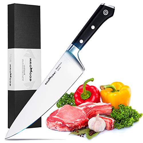 Godmorn Chef Knife 8 inches, Kitchen Knife,AUS-8 Japanese High Carbon Stainless Steel,with Ergonomic G10 Handle,Ultra Sharp,Best Gift with case for Kitchen and Restaurant