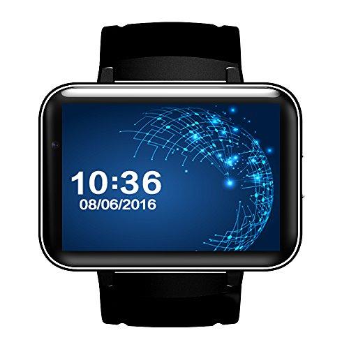 DM98 Smartwatch für Android 4.4, 5,1 cm (5,1 Zoll) großes Display, 2G 3G Smartwatch mit HD-Kamera, WiFi, GPS, Lautsprecher, App zum Download, schwarz