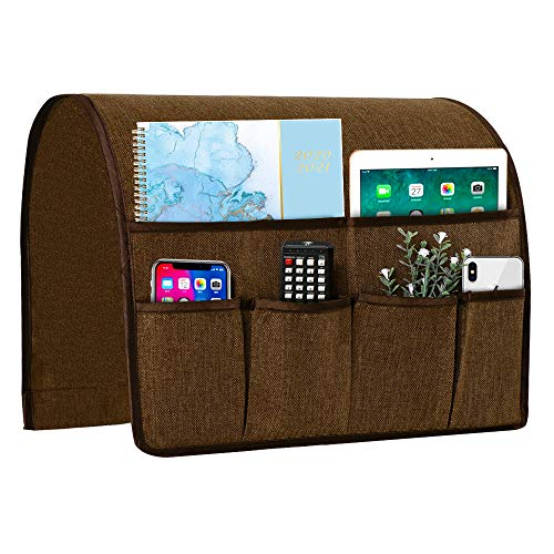 Joywell Sofa Armrest Organizer, Remote Control Holder for Recliner Couch, Arm Chair Caddy with 6 Pockets for Magazine, Tablet, Phone, iPad, Brown