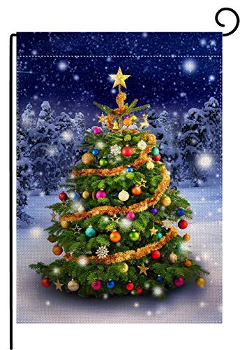 Colorful Christmas Tree Burlap Garden Flag House Banner 12.5 X 18 Inch, Winter Happy New Year Decorative Flag for Party Yard Home Outdoor Decor