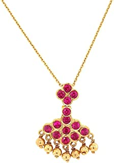 Gehna 22k (916) Yellow Gold and Ruby Pendant for Women