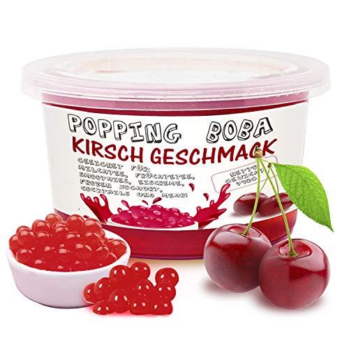 Original Bubble Tea Perlen - 490g Boba Pearls Kirsch Geschmack, Popping Tee Fruchtperlen, Hochwertige Original Fruit balls, 100% Vegan und Glutenfrei