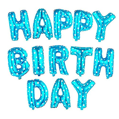Rozi Decoration Happy Birthday Foil Balloon, Blue Theme Pack of 13 Letters)