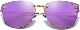 Fashion Black/Pink/Blue/Purple/Orange Red Men and Women with Large Frame Sunglasses Trend Color Film Metal Material Fashion Wild Sunglasses Retro (Color : Purple)