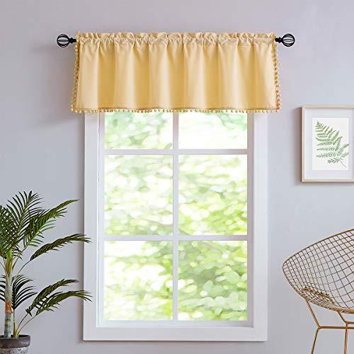 "Treatmentex Velvet Window Valance Curtain for Blinds Yellow Pom Pom Kitchen Valance for Living Room Bedroom 56""x18"" 1pc"