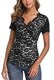 MISS MOLY Mujer Camisa Manga Corta con Cuello en V Camisas Blusas Encaje Negro Large