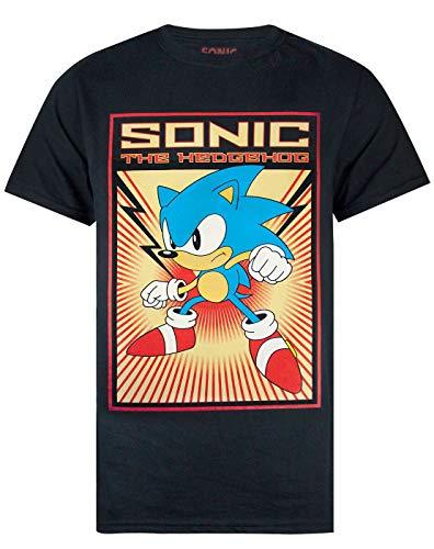Sonic The Igel T-Shirt Herren Propaganda Retro Poster Schwarz Top