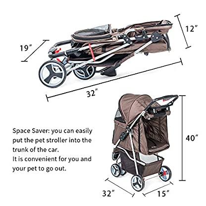 comiga Pet Stroller, 3-Wheel Cat Stroller, Foldable Dog Stroller with Removable Liner and Storage Basket, for Small-Medium Pet,Coffee 2