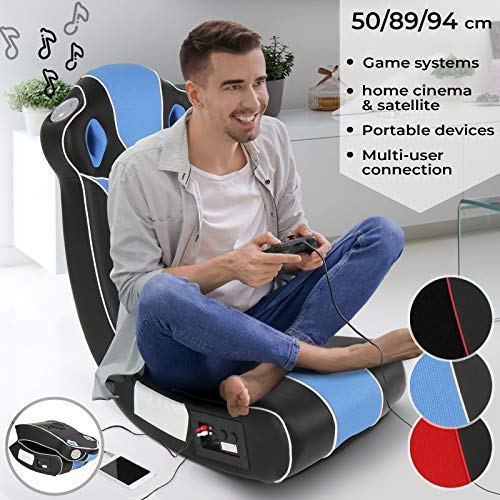 MIADOMODO Soundsessel - aus Kunstleder, zusammenklappbar, mit Lautsprecher, Surround und Subwoofer, Blau/Schwarz - Soundchair, Multimediasessel, Musiksessel, Musikstuhl, Gaming Chair, Music, Rocker
