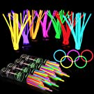 """400 Glow Sticks Bulk Party Supplies - Halloween Glow in The Dark Fun Party Favors Pack with 8"""" Glowsticks and Connectors for Bracelets and Necklaces for Kids and Adults"""