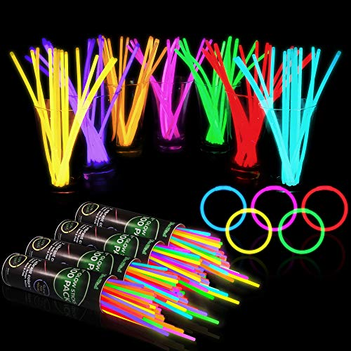 "400 Glow Sticks Bulk Party Supplies - Halloween Glow in The Dark Fun Party Favors Pack with 8"" Glowsticks and Connectors for Bracelets and Necklaces for Kids and Adults"