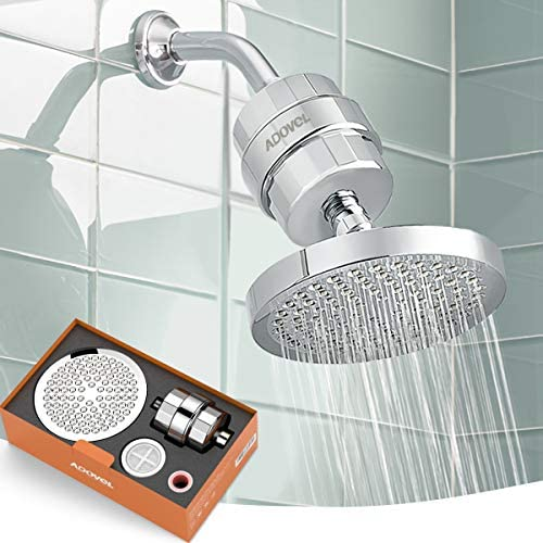 ADOVEL High Output Shower Head and Hard Water Filter 15 Stage Shower Filter Removes Chlorine product image