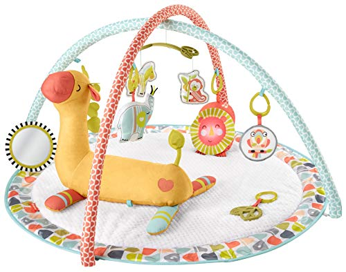 Fisher-Price Gimnasio Animalitos Salvajes y Girafa Cojín Activity, manta de juego para bebé recien nacido (GMG07)