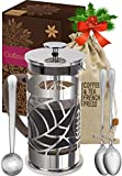 Cofina French Press Coffee Maker - 34 oz Large Stainless Steel & Glass French Coffee Press Gift Bundle for moms