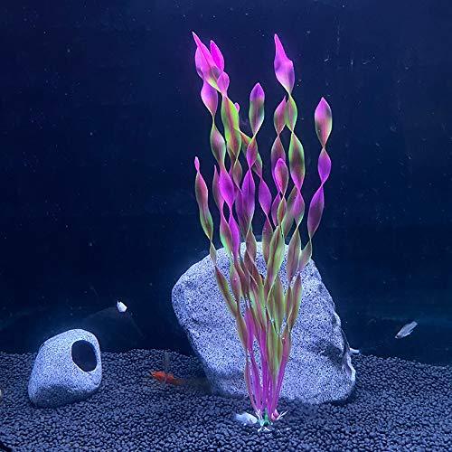 RIFNY künstliche Aquarium Pflanzen Deko, Kunststoff Aquariumpflanze Wasserpflanzen Plastikpflanzen Fuer Aquarium Dekoration 10-30cm-Red