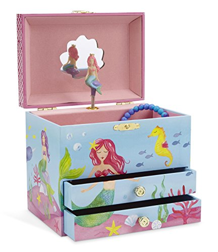 Jewelkeeper Mermaid Musical Jewelry Box, Underwater Design with Two Pullout...