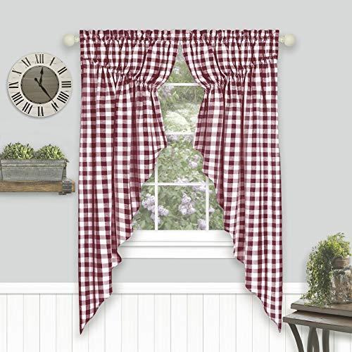 "Woven Trends Farmhouse Curtains, Buffalo Plaid Curtain Shades, Gathered Swag Set, Classic Country Plaid Gingham Checkered Design, Farmhouse Décor, 72"" x 63"" Gathered Swag Pair (2-Pack), Burgundy"