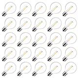 25 Pack G40 Led Replacement Bulbs, 0.6W Shatterproof Clear Globe Light Bulbs, 1.57 Inch Dimmable Bulbs fits E12/C7 Candelabra Screw Base Sockets for Indoor Outdoor Patio Decor, Warm White