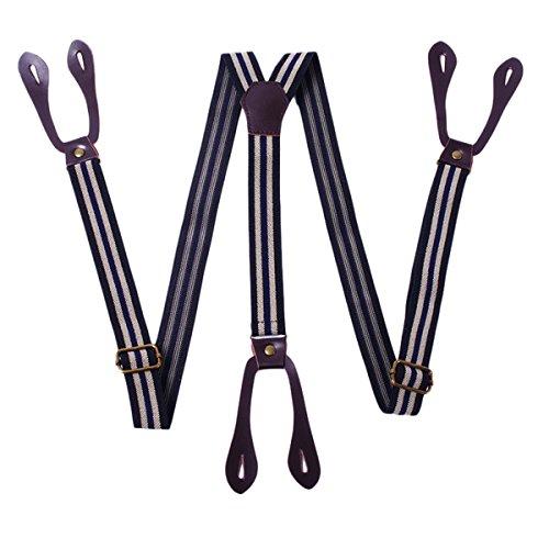 Panegy - Tirantes Adjustable de Traje Y Para Hombre Mujer (2.5*110Mcm) con 6 Ojales Para Botones Para Pantalones Faldas Tirantes Moda Elegante
