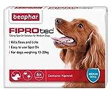 Beaphar FIPROtec Kill Flea Ticks Spot On Drop Treatment Protection for Small Medium Large XL Dogs Puppies (6 Treatments, Dog (Medium 10-20kg))