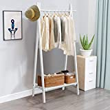 Tangkula Wooden Freestanding Garment Rack, Clothing Rack Stand w/Storage Shelf & Hanging Rod, 100% Natural Pine Wood Stable Triangular Frame, Perfect for Entryway, Bedroom, Living Room (White)