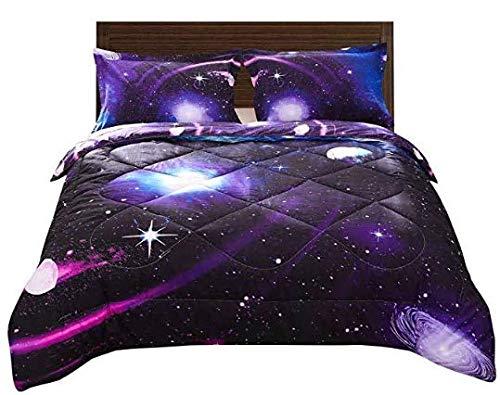 DECMAY 3D Purple Blue Space Comforter Full Universe Bedding Set for Kids Blue Starry Sky Duvet Set with Pillow Cover Super Soft Bedroom Decor for Girl and Boy(1Comforter&2Pillow Shams)