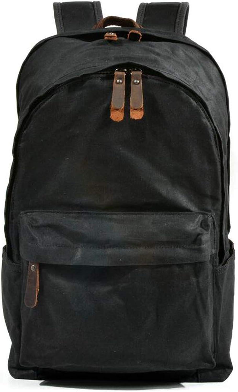 WEATLY Mens Vintage Canvas Rucksack Bookbag Laptoptasche Leichter Rucksack für Wandern Reisen (Farbe   schwarz)