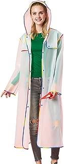 C_EDITION Stylish Transparent Rain Poncho for Adults Reusable Outdoor Hiking Raincoat Hooded Rain Jacket Waterproof