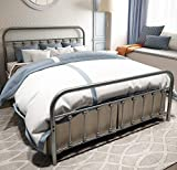 TEMMER Metal Bed Frame Queen Size with Headboard and Footboard Single Platform Mattress Base,Metal Tube and Iron-Art Bed(Queen,Gray Silver)