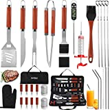 grilljoy 30PCS BBQ Grill Tools Set with Thermometer and Meat Injector. Extra Thick Stainless Steel Spatula, Fork& Tongs - Complete Grilling Accessories in Portable Bag