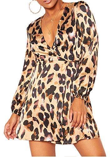 Re Tech UK Mujer Brillo Lúrex Estampado Leopardo Envoltura Plástica Vestido Skater Manga Larga Cuello Escote Profundo Moderno Noches - Dorado Negras Estampado de Leopardo, UK 6 / EU 34 / US 2 / AUS 6