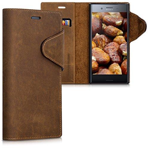 kalibri Hülle kompatibel mit Sony Xperia XZ Premium - Leder Handyhülle - Handy Wallet Case Cover in Braun