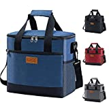 Iknoe Large Cooler Bag Collapsible 24 Can Insulated Bags Leakproof Lunch Cooler Tote With Multi-Pockets for Adult & Kids Insulated Thermal Bag for Beach, Picnic, Office Work (New Blue)
