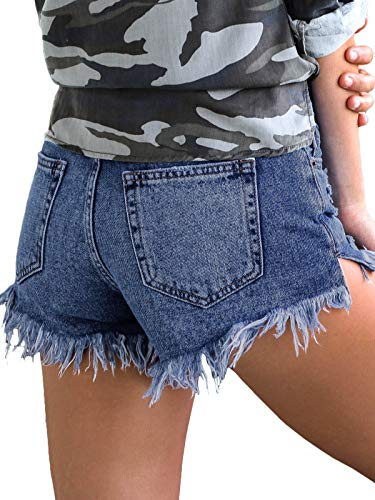 Govc Womens Jean Shorts Mid-Rise Frayed Raw Hemline Ripped Denim Short Jeans(Blue,M)